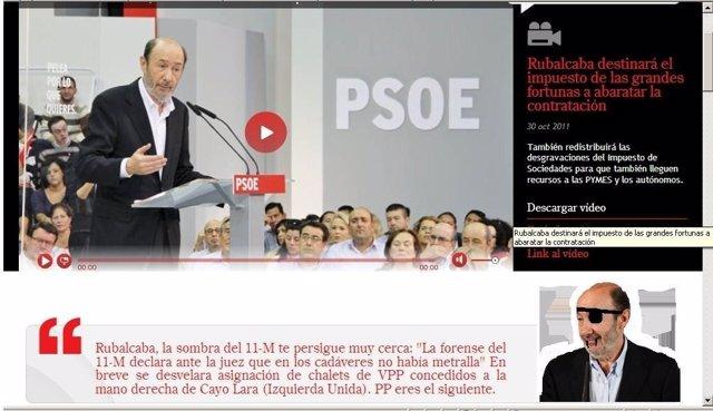 Imagen Del Hackeo En La Página Web De Rubalcaba Por Europa Press