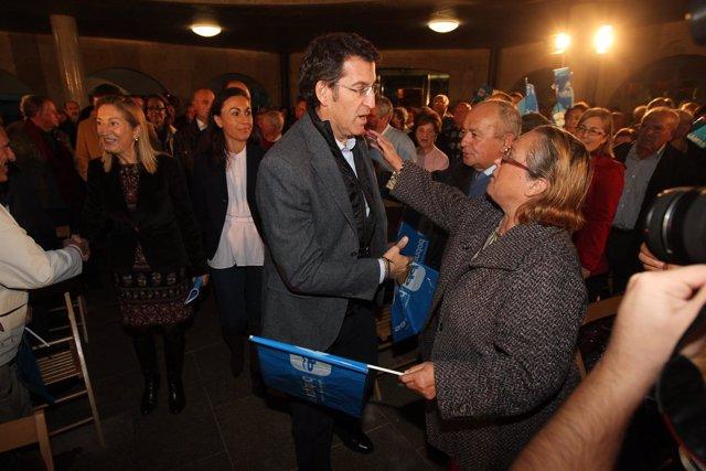 Mitin Del PP En Marín Con Alberto Núñez Feijóo Y Ana Pastor.