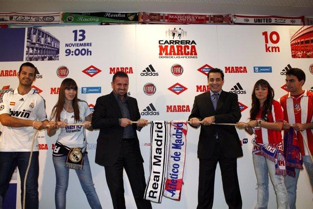 Presentación De La Carrera De Las Aficiones Entre Madridistas Y Atléticos