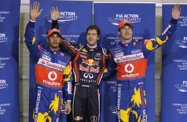 Hamilton, Vettel Y Button En Abu Dhabi