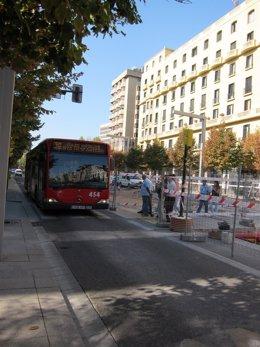 Autobús Y Obras Tranvía En Independencia, En Zaragoza