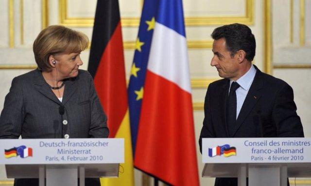 Merkel y Sarkozy en la cubre franco germana