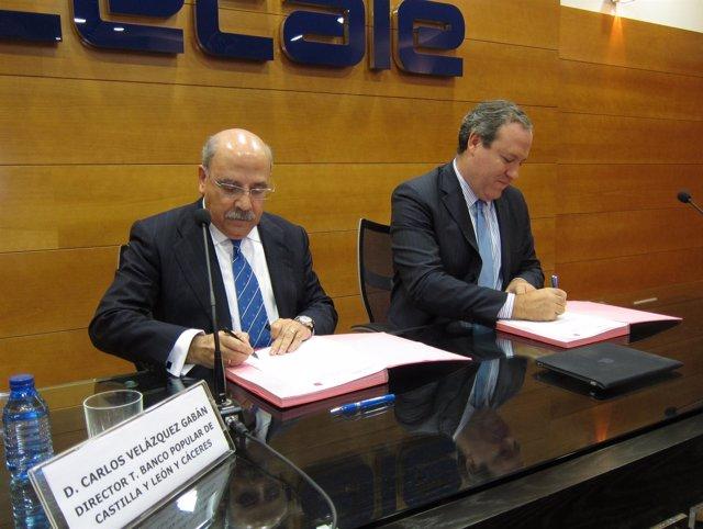 El Presidente De Cecale Y El Director De Banco Popular En Cyl Firman Un Convenio