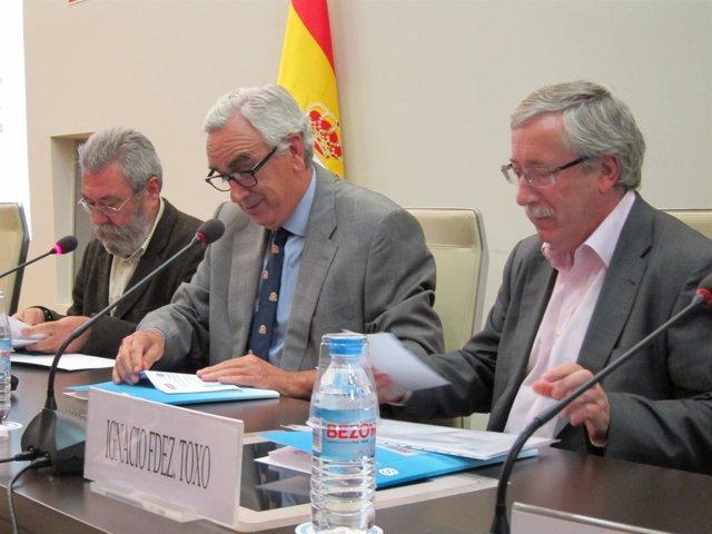 Secretarios Generales De CC.OO Y UGT, Toxo Y Méndez, Y Presidente De CES, Peña