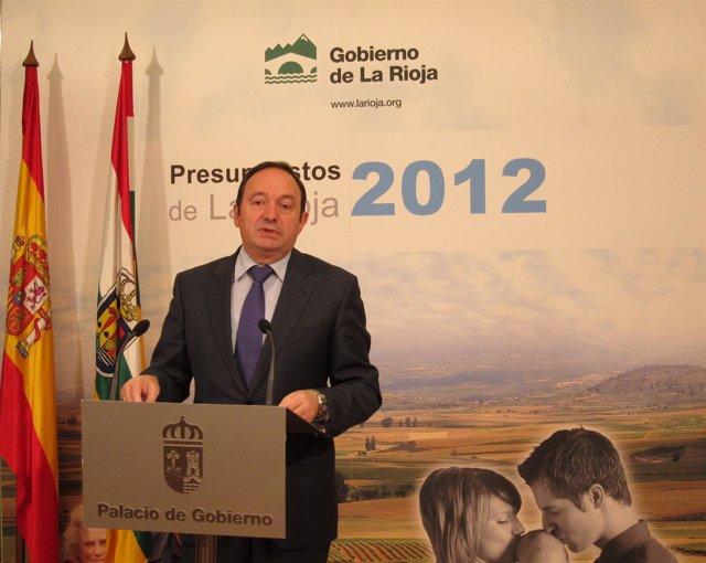 Pedro Sanz, Presidente Gobierno De La Rioja, Presenta Presupuestos 2012
