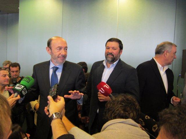 El candidato socialista Alfredo Pérez Rubalcaba en A Coruña.