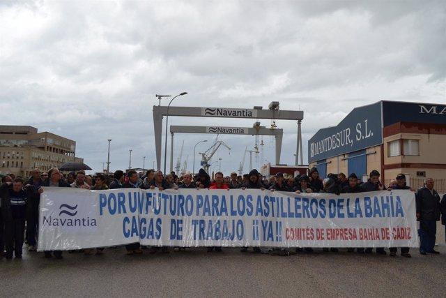 Manifestación De Trabajadores De Navantia En Cádiz