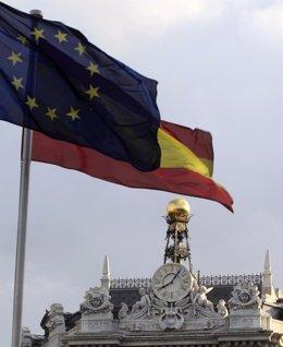 Bandera De España Y De La Unión Europea
