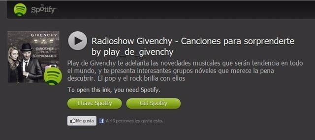 'Radioshow' De Spotify Y Givenchy