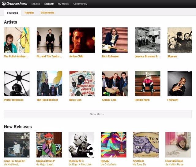 Página Web De Grooveshark