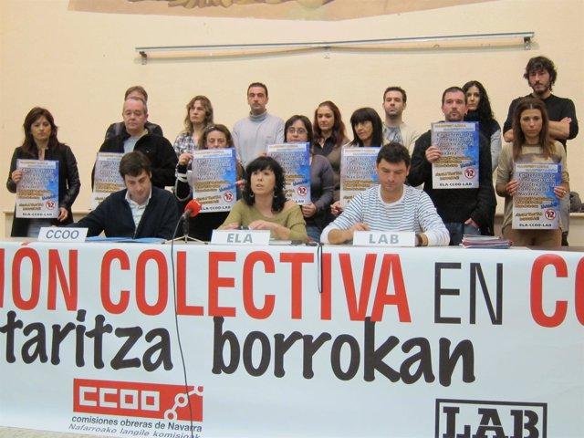 Representantes De CCOO, ELA Y LAB En Rueda De Prensa.