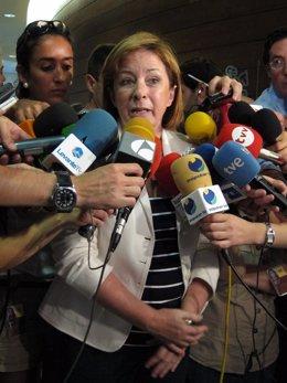 Marga Sanz atiende a los medios en imagen de archivo