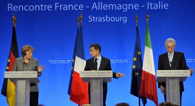 Angela Merkel, Mario Monti Y Nicolás Sarkozy