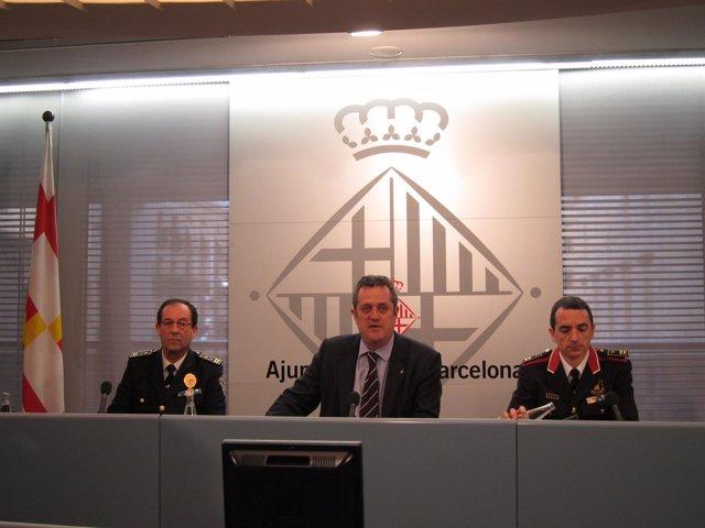 Evelio Vázquez (G.Urbana), Joaquim Forn (Ayto) Y Joan Carles Molinero (Mossos)