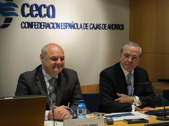 Isidre Fainé, presidente de CECA y el director general, José María Méndez