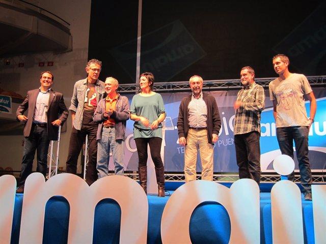 Los Siete Diputados Electos De Amaiur, En La Noche Electoral En Pamplona.