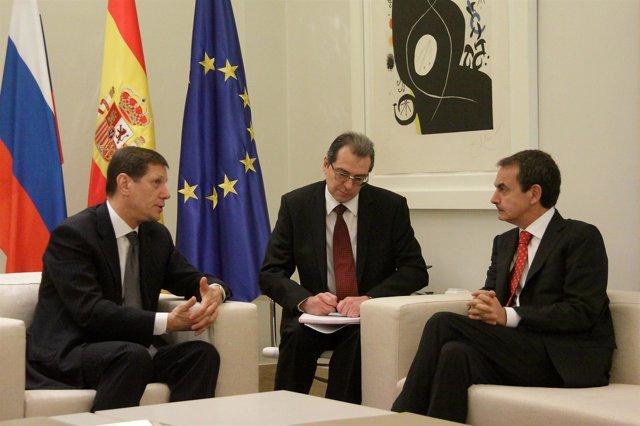 José Luis Rodríguez Zapatero Y Alexander Zhúkov En La Moncloa