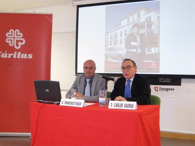 Francisco Yagüe Y Carlos Sauras En La Presentación De La Campaña De Cáritas