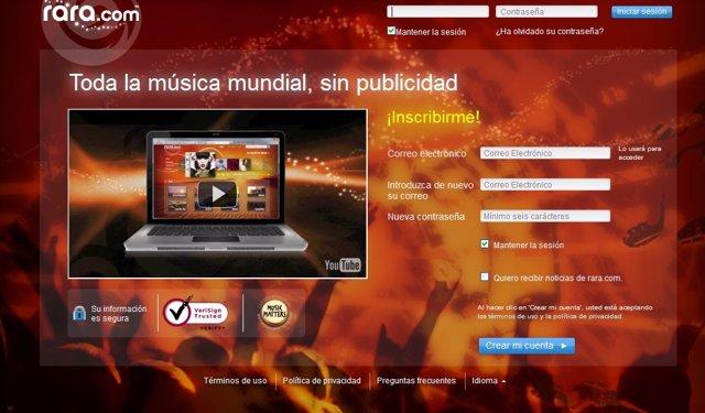 Captura Del Nuevo Servicio De Música Rara.Com