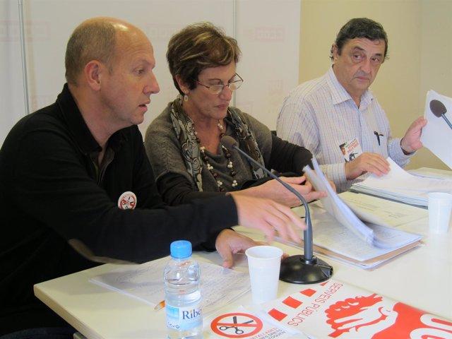 Xavier Casas (UGT), Josefina Pujol (CC.OO.) Y Luis Blanco (IAC)