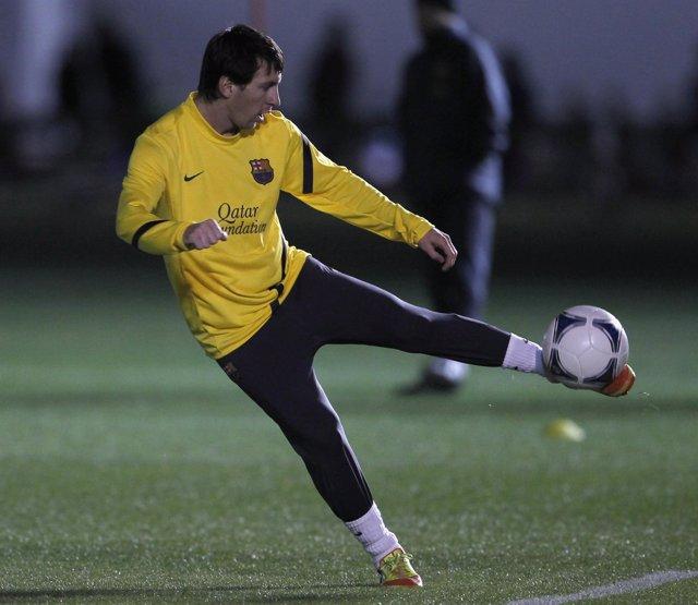 Leo Messi En Un Entrenamiento Del Mundial De Clubes