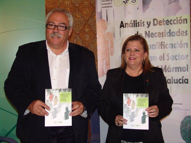 El Director De La Escuela Del Mármol, Miguel Morilla, Y La Delegada De Empleo