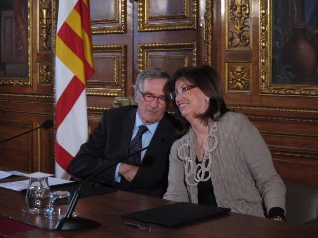 El Alcalde De Barcelona, Xavier Trias, Y La Consellera De Enseñanza, Irene Rigau