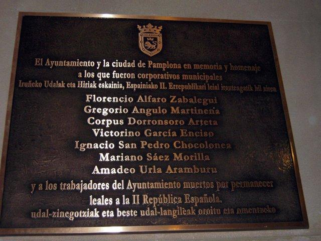 Placa De Homenaje A Concejales Y Trabajadores De Pamplona Fusilados En 1936.