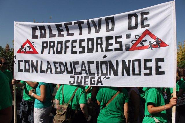 Manifestación de profesores contra los recortes