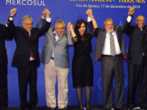 Los Presidentes De Argentina, Uruguay, Chile Y Brasil