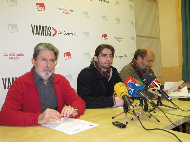 Barrena, Sanz Y Alonso En La Sede De IU-Aragón