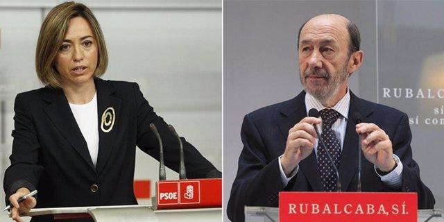 Montaje De Chacón Y Rubalcaba Con Atril Rojo Del PSOE
