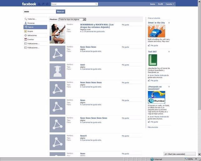 Búsquedas En Facebook De 'Sexo'.
