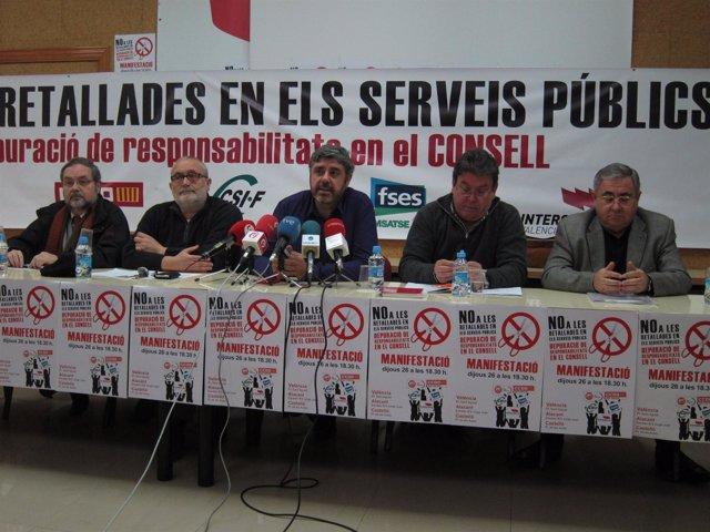 Portavoces De FSES, CCOO, IV, UGT Y CSI·F Anuncian Acciones Contra Los Recortes.