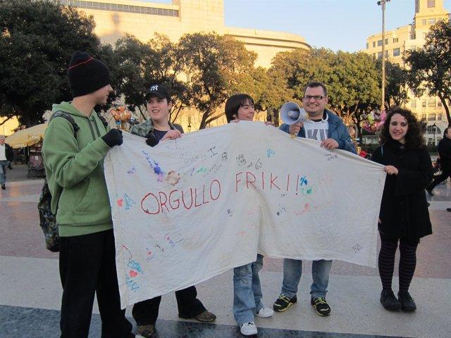 Pancarta Contra El Cierre De Megaupload En Barcelona