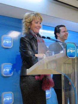 Esperanza Aguirre Tras El Comité De Dirección Del PP De Madrid