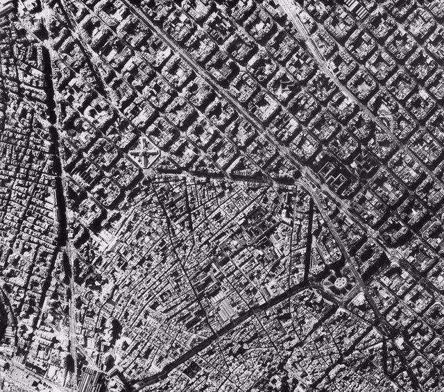 Vista Aérea De Barcelona En Blanco Y Negro