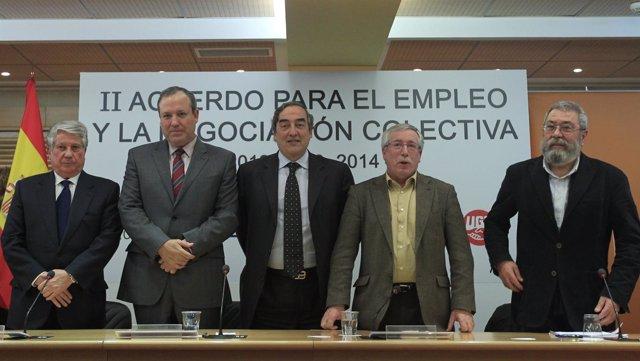 Fernández, Terciado, Rosell, Toxo Y Méndez Firman El Acuerdo Salarial