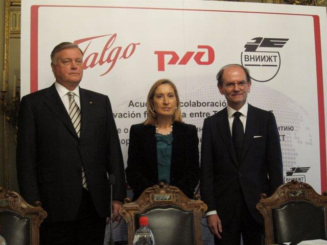 Firma Del Acuerdo Entre Talgo Y La Rusa RZD, Presidida Por Ana Pastor