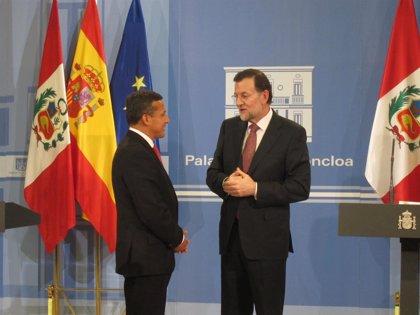 """Humala defiende ante Rajoy la fortaleza de la economía peruana, cuyas puertas """"están abiertas"""" a inversión"""