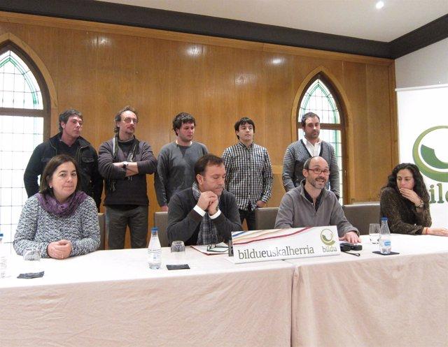 Rueda De Prensa De Alcaldes De Bildu Sobre La Ikastola De Lodosa.