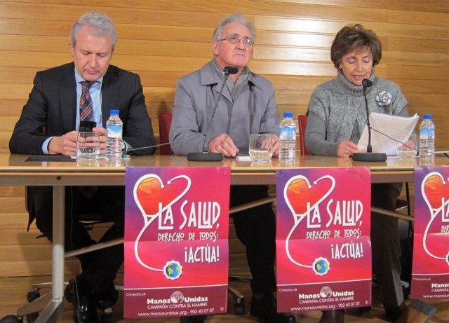 Emilio Del Río, Jesús Zubiria Y Dolores Huelves En Un Acto De Manos Unidas