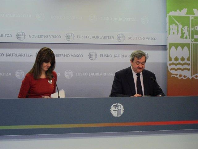 Rueda Dep Rensa Tras Consejo De Gogierno Con Idoia Mendia Y Carlos Aguirre