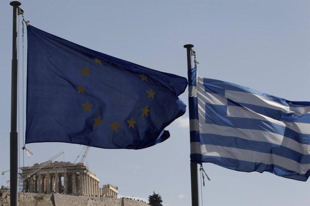 Bandera De Grecia Y La UE