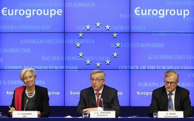 Lagarde, Rehn Y Junker Tras La Reunión Del Eurogrupo Para Salvar A Grecia