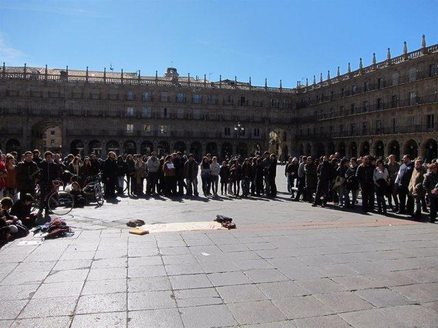 Participantes En La Concentración De La Plaza Mayor De Salamanca