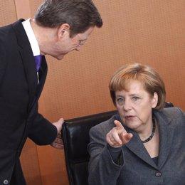 Guido Westerwelle Y Merkel