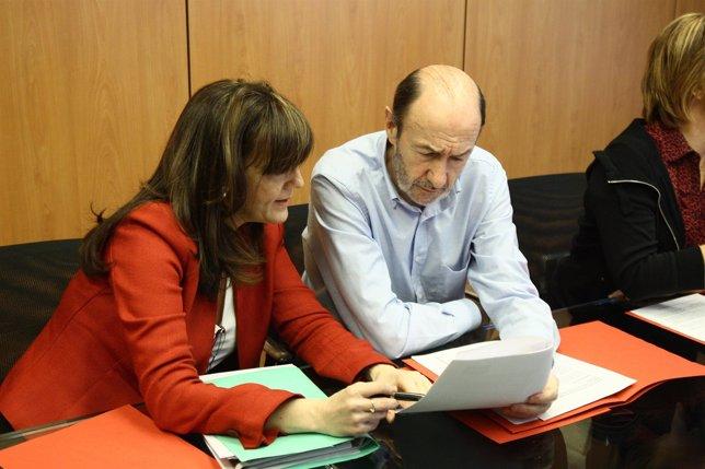 Reunión De Trabajo Del PSOE Con Rubalcaba Y Soraya Rodríguez