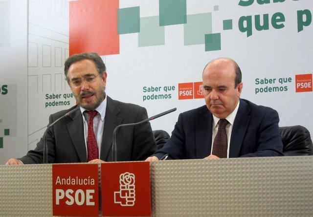Felipe López Y Gaspar Zarrías, En La Rueda De Prensa.