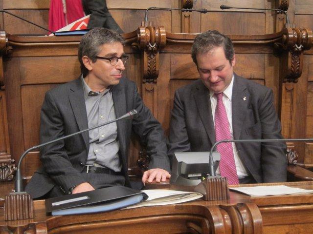 Jordi Martí Y Jordi Hereu (PSC), En El Pleno Del Ayuntamiento